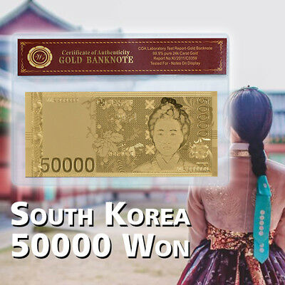 WR Korea South Gold Foil Banknote 50000 Won Asian Money Collection In COA Sleeve