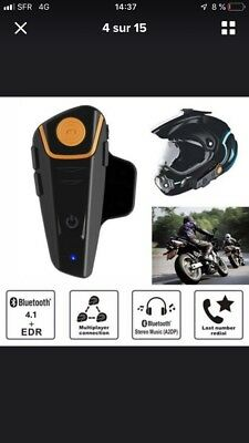 1000M BT-S2 Bluetooth Interphone Casque de Moto Helmet Intercom Sans fil
