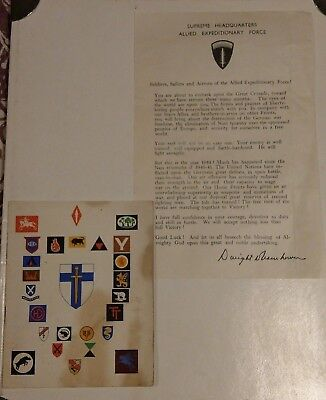 WW2 D-Day Eisenhower Letter Message and 2nd Army Thanksgiving Service Booklet