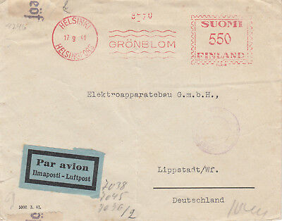 Finland 1941 Censored Airmail Cover To Germany