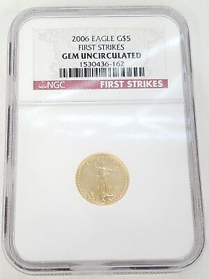 * Ngc 2006 First Strikes $5 Gold Eagle 1/10 Ounce Coin In Case