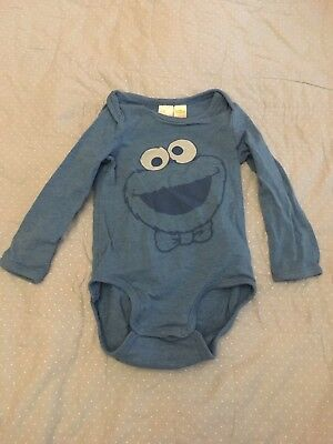 Baby Boy Long Sleeve Cookie Monster Baby Grow, Age 9-12 Months, H&M