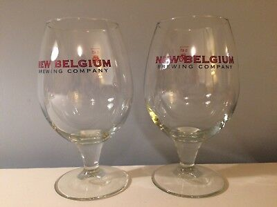 2 New Belgium Brewing Stem Goblet 0.47L Beer Glass Tulip Blue and Red Lettering