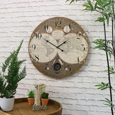Large atlas pendulum wall clock shabby vintage chic retro home man's gift