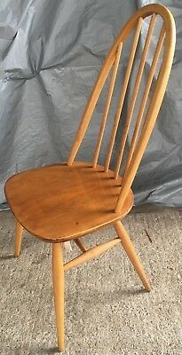 Retro Ercol Single Quaker Chair 1960s Blonde Elm Windsor Vintage Stick Back