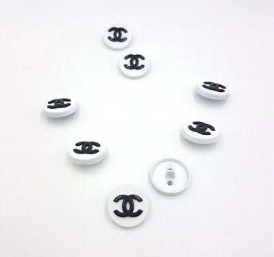 10 pieces Chanel Style Metal Buttons White and Black Size 22mm Valentine's Gift