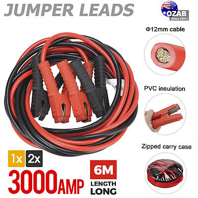 3000AMP Jumper Leads 6M Long Heavy Duty Jump Booster Cables AU 1/2x