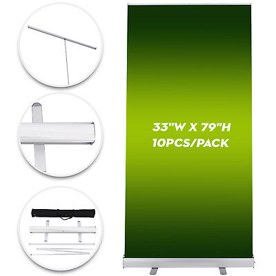"""10 Pack Retractable Roll Up Banner Stand 33X79"""" Trade Show Sign Display GOOD"""