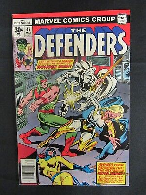 The Defenders #47 (1977) Moon Knight Appears Marvel Bronze Age NM 9.2-9.4 C554