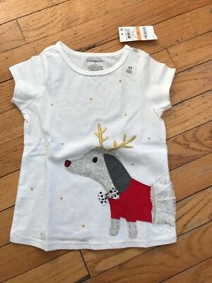 NWT First Impressions Girls Christmas Reindeer Dog T-Shirt White 3T