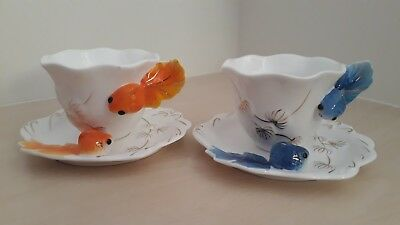 Chinese Fan Tail Fish Cups And Saucers. Beautiful Orange And Blue. Unusual.