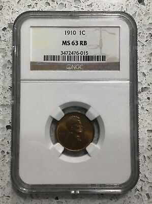 1910 Lincoln Cent Graded Ngc Ms 63 Rb