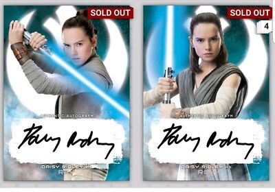 Two (2) Topps Star Wars Card Trader The Last Jedi Selects Rey Signature TLJ