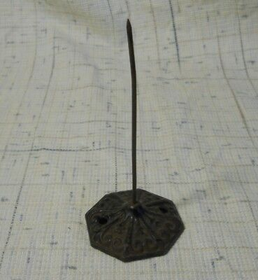 Vintage Antique Octagon Ornate Cast Iron Spike Holder for Paper Receipts, Bills