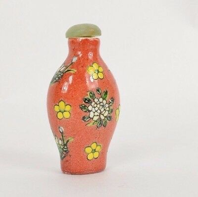 Vintage Hand Painted Floral Chinese SNUFF BOTTLE Jade Top