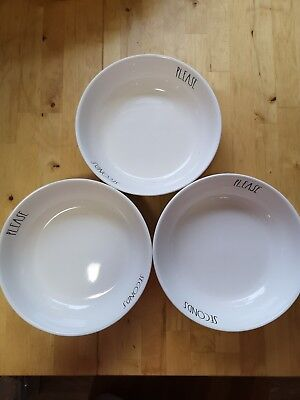 Rae Dunn Set Of 3 pasta bowls; SECONDS PLEASE