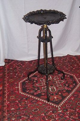Bradley & Hubbard Cast Iron With Brass Column, Signed Plant Stand, L-C298