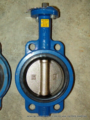 """NEW C&C Butterfly Valve 5"""" 200 PSI ANSI 150 FREE SHIPPING"""