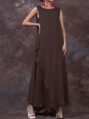 Women Sleeveless Pure Color Maxi Dress