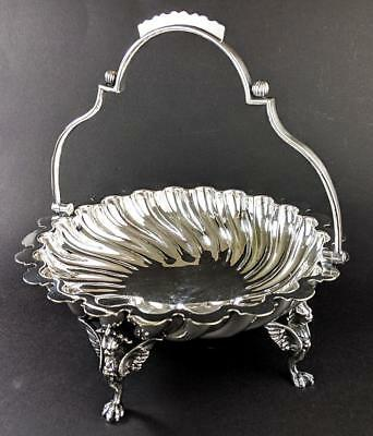 VICTORIAN WINGED LION SILVER PLATED SWING HANDLED BASKET c1880
