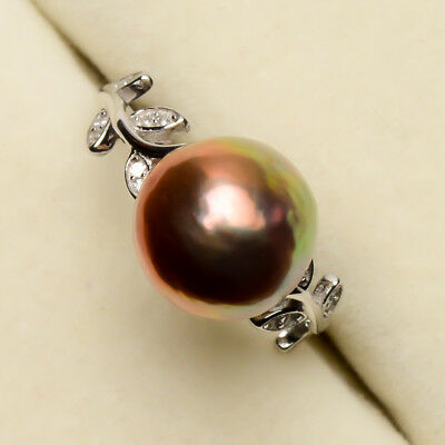 Freshwater Kasumi Pearl Leaf Crystal Ring 925 Sterling Silver Size 7 Adjustable