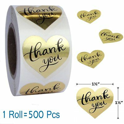 1 Roll Love Heart Shape Gold Foil Thank You Stickers Easy-pull  Adhesive Labels