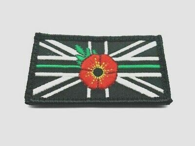 Thin Green Line Remembrance Mourning Union Jack Hook & Loop Patch UK Ambulance