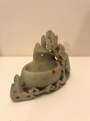 Small Vintage Chinese Carved Soapstone Brush Pot - Flower