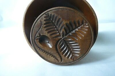 Antique Wood Treen Lge. Plunger  Butter Mold, Stamp, Press..gorgeous Pattern