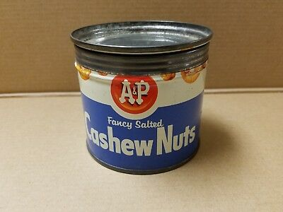 Antique metal A&P Cashew nut tin container 6 3/4 oz net weight