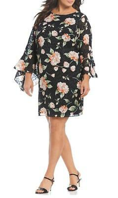 Plus Sizes Jessica Howard Bell Sleeve Floral Black Sheer Overlay Shift Dress