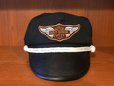 Harley Davidson Captains Hat Size Medium Black Leather
