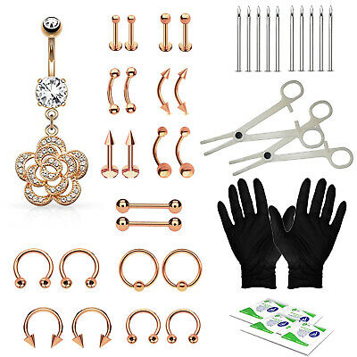 BodyJ4You 36PC PRO Piercing Kit Rose Goldtone Steel 14G 16G Belly Ring Tongue