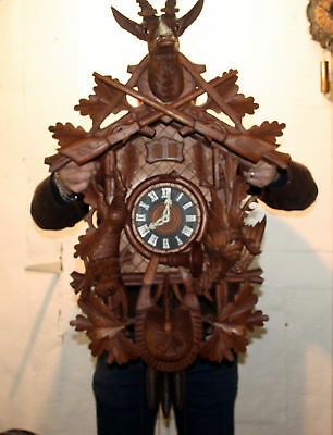 Majestic Gigantic Old Cuckoo Wall Clock Black Forest Carillon 4 Melodies 95 cm