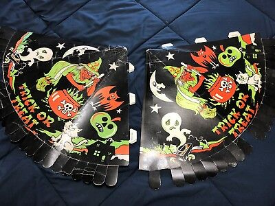 2 Vintage Halloween Cone Paper Party Hat Hats w/ Witch Ghost Trick or Treat