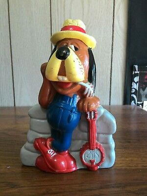 Droopy country hound dog banjo plastic coin piggy bank collectable