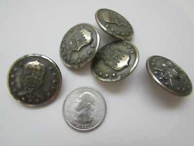 Vintage Lot Of 5 Silver WW II Era Military Buttons Scovill Waterbury
