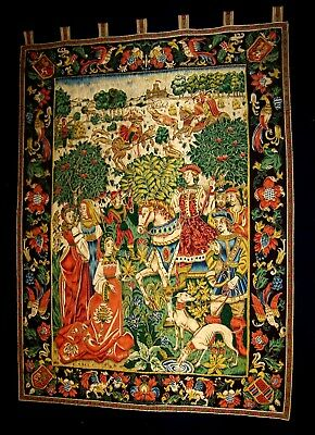 Medieval Scene Large Wall Tapestry Castle Hunting Vintage
