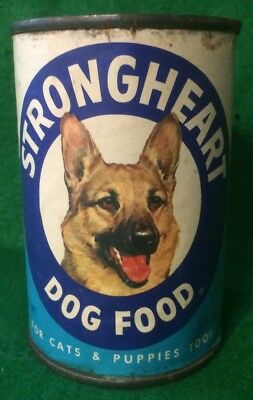 Vintage Strongheart Dog Food Tin Can Advertising Products out of Long Branch NJ
