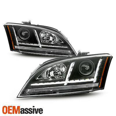 For 2008-14 Audi TT [Sequential Turn Signal] Projector LED Black Headlights Pair