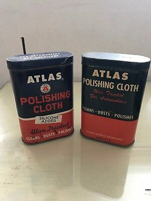 ATLAS 2 tins of Polishing Cloth older logo and style, have cloth in them SOHIO