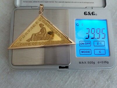 Cape of Good Hope 39,95 gr , 1 Penny. 18 ct Gold,Triangular Replika Stamp 1853