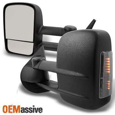 Fits 07-13 Silverado Sierra Manual Extendable LED Signal Towing Side Mirror Pair