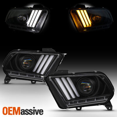 For 2010-2014 Mustang Black LED Sequential Turn Signals DRL Projector Headlights