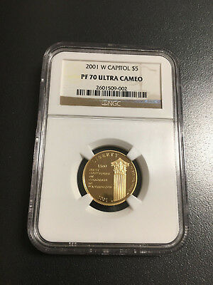 2001-W Capitol - $5 U.s. Gold Commemorative - Ngc Pf 70 Ultra Cameo