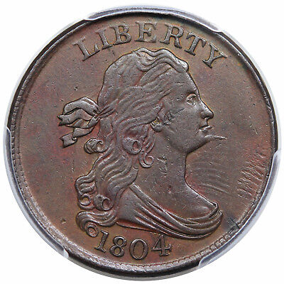 1804 Draped Bust Half Cent, Spiked Chin, C-6, LDS, lamination, PCGS AU detail