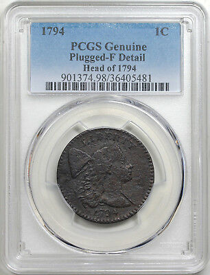 1794 Liberty Cap Large Cent, Head of 1794, S-30, PCGS F detail