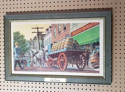 """Pabst Blue Ribbon Framed Print Horse Carriage """"Presented To No Place"""" PBR Sign"""