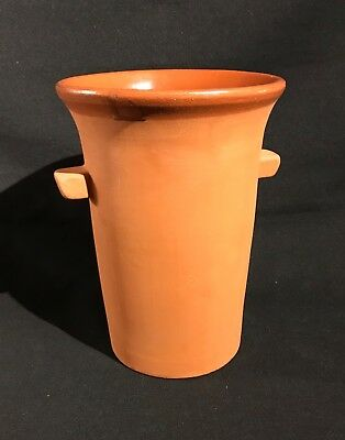 """Terracotta Handled Wine Champagne Cooler Glazed Interior 8"""" High Christmas Party"""