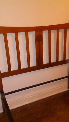 Edwardian carved Arts and Crafts solid wood standard double bed frame c 1910
